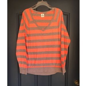 PINK Victorias Secret Orange and Brown Stripe Tee